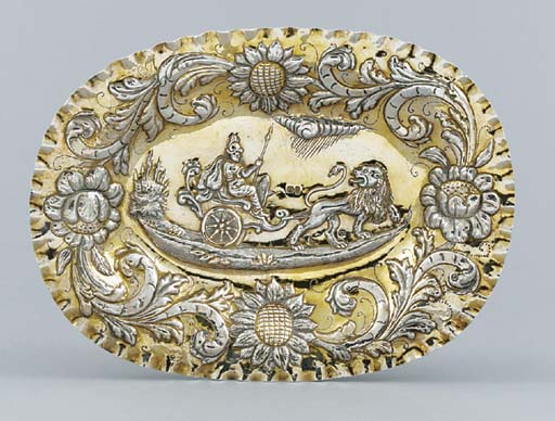 A German parcel-gilt dish