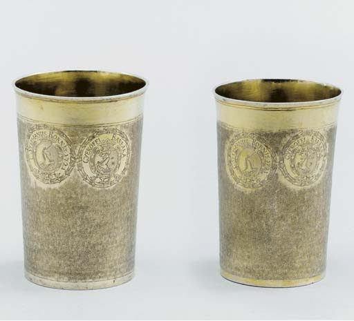 Two stacking Hungarian silver-