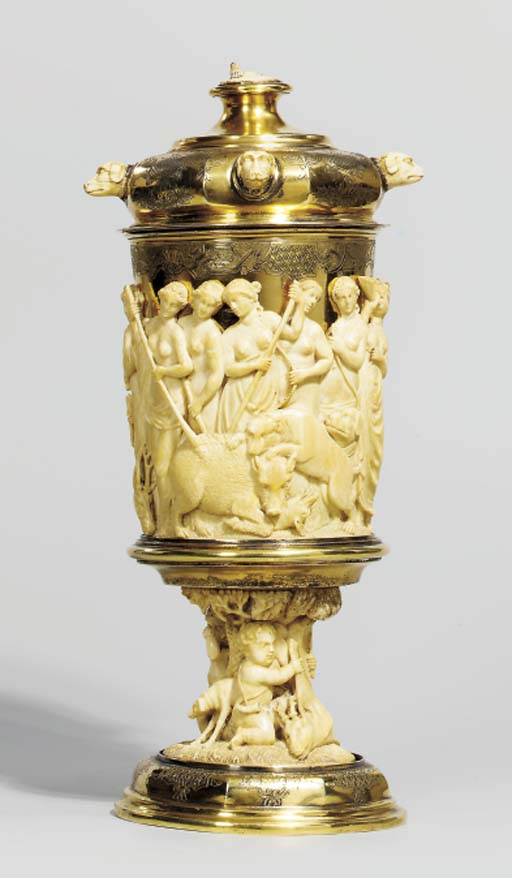 AN ENGRAVED SILVER-GILT AND CA