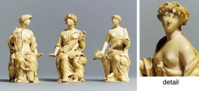 A GROUP OF THREE CARVED IVORY