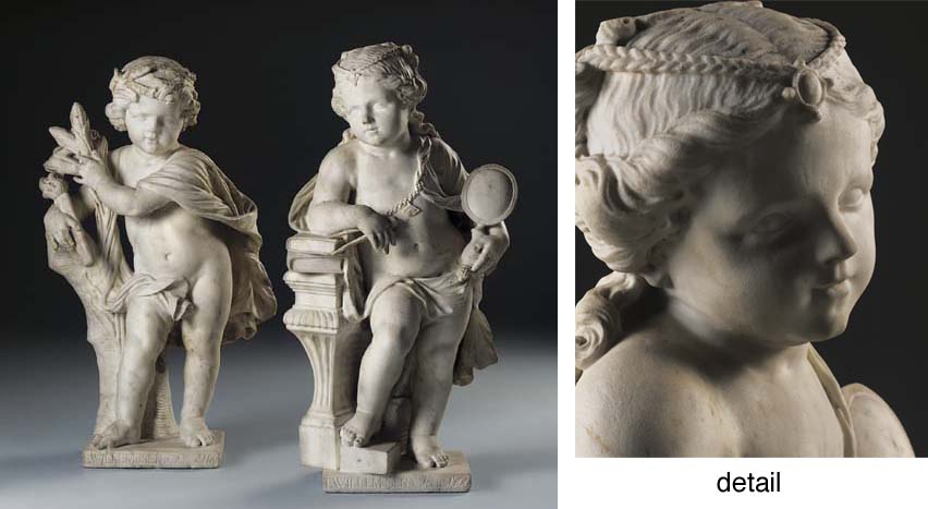 A PAIR OF CARVED MARBLE ALLEGO
