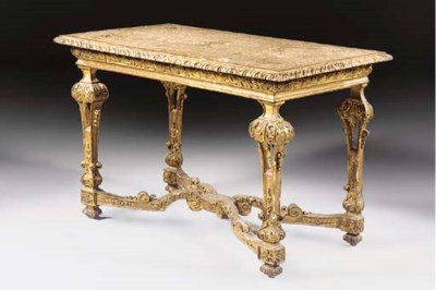 A GERMAN GILT-GESSO PIER TABLE