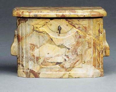 A CARVED MARBLE CASKET
