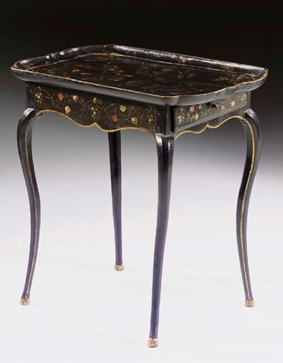 A LOUIS XV BLACK POLYCHROME-DE