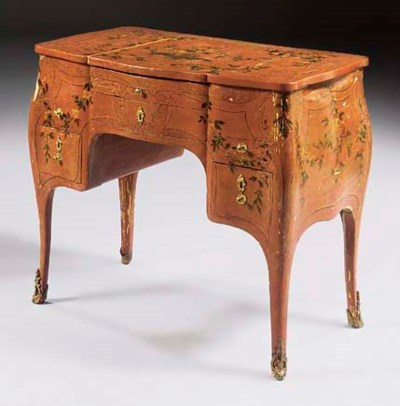 A LOUIS XV RED AND POLYCHROME-