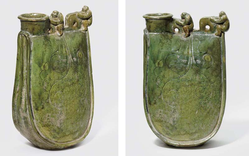 A VERY RARE GREEN-GLAZED FLASK