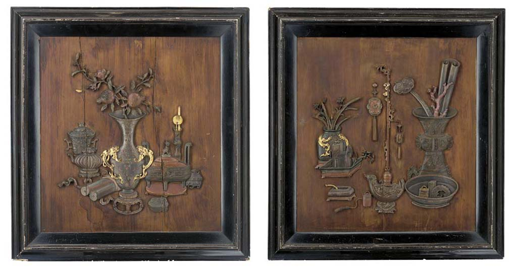 A PAIR OF POLYCHROME WOOD RELI