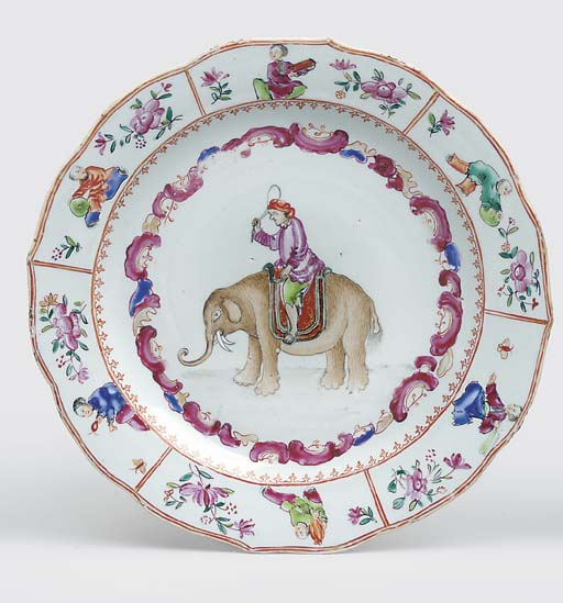 A RARE FAMILLE ROSE PLATE FOR