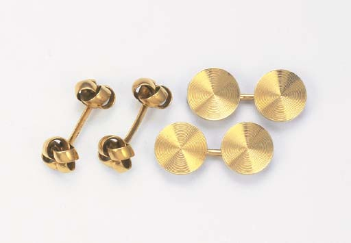 TWO PAIRS OF CUFF LINKS, BY CA