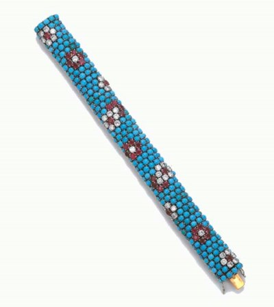 A TURQUOISE, DIAMOND AND RUBY