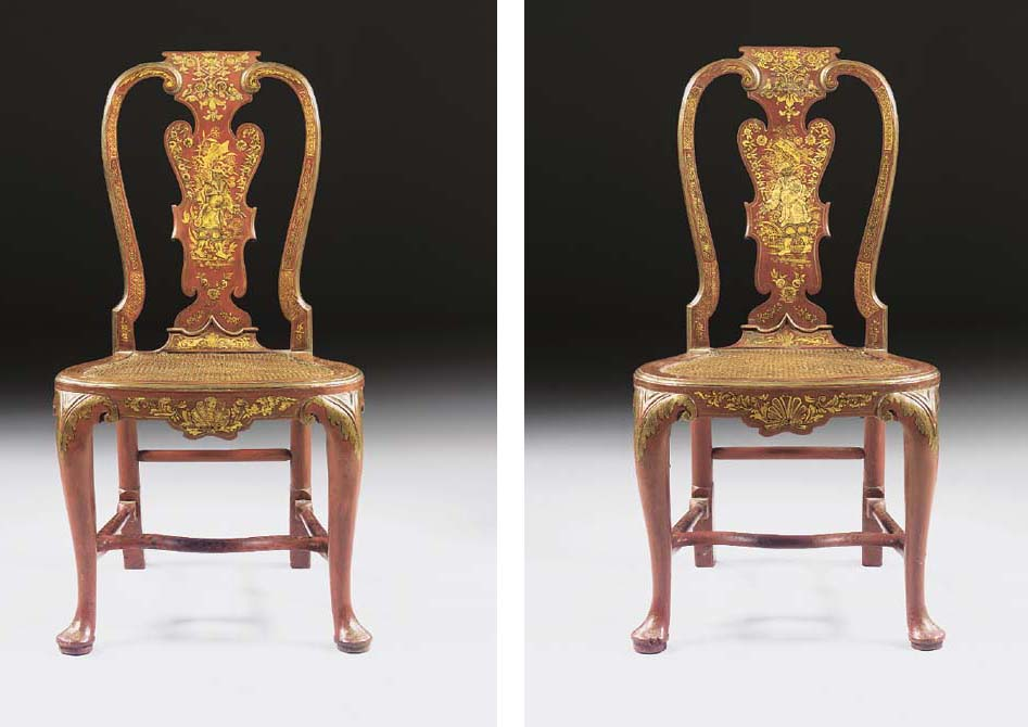 A Pair Of George Ii Red And Gilt Japanned Open Armchairs