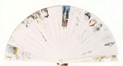An ivory brise autograph fan,