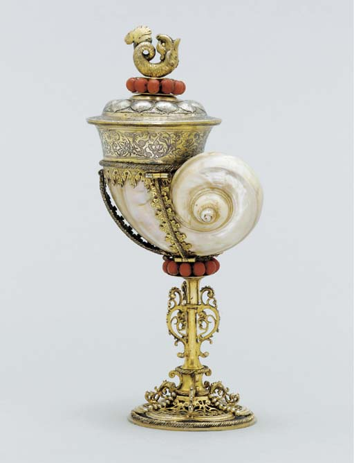 A German silver-gilt and coral