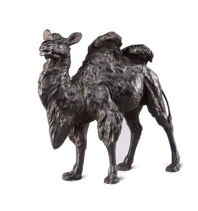 A Japanese bronze model of a b