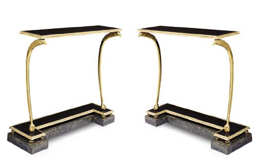 A PAIR OF FRENCH ORMOLU, BLACK