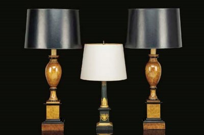 A PAIR OF GRAINED-WALNUT AND E