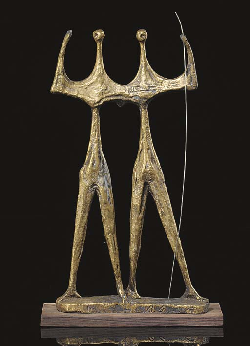 A BRONZE GROUP OF TWO STANDING