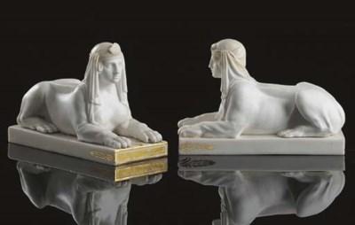 A pair of Buen Retiro sphinxes