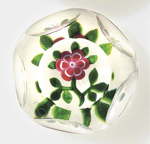 A Baccarat faceted red and whi