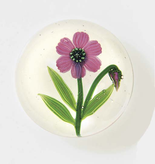 A Clichy pink flower weight