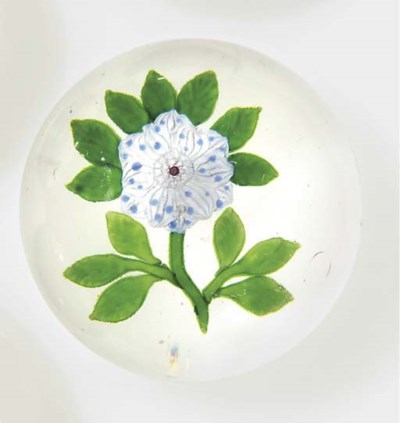 A Baccarat blue and white whea