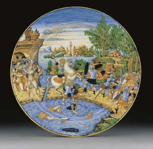 An Urbino istoriato charger (piatto di pompa)