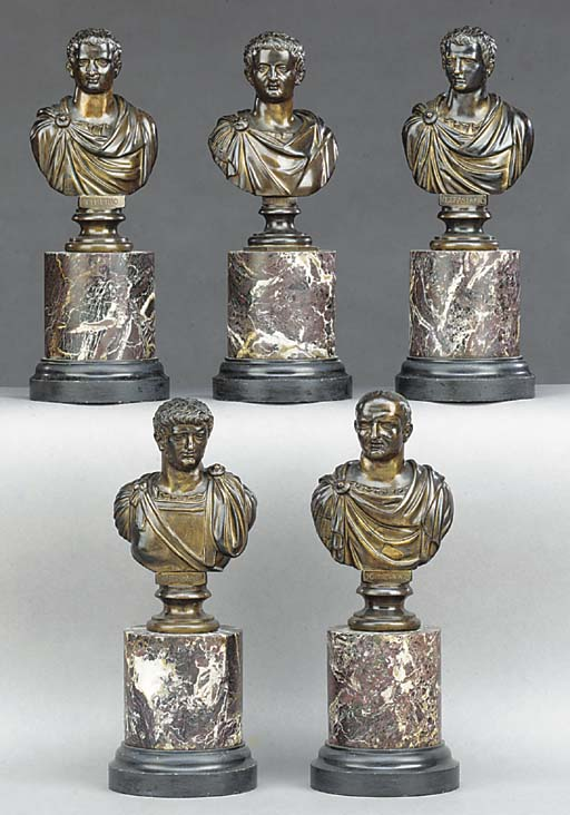 A SET OF FIVE BRONZE BUSTS OF
