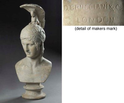 A PLASTER BUST OF A ROMAN WARR