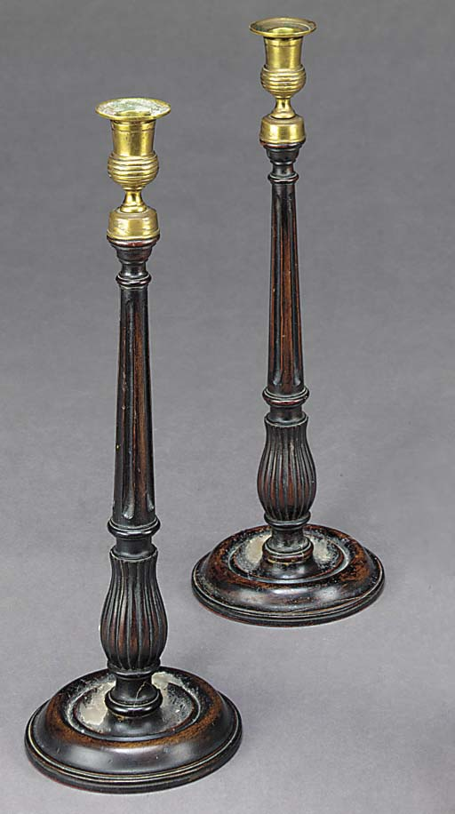 A PAIR OF BRASS AND MAHOGANY C