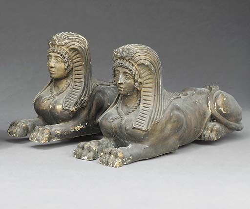 A PAIR OF EMPIRE BRONZED CARVE