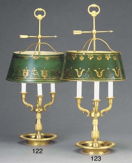 AN ORMOLU LAMPE BOUILLOTTE