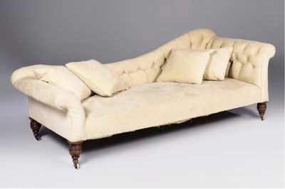 AN EARLY VICTORIAN UPHOLSTERED