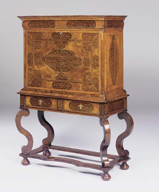 A WILLIAM AND MARY WALNUT AND ARABESQUE-MARQUETRY ESCRITOIRE-ON-STAND