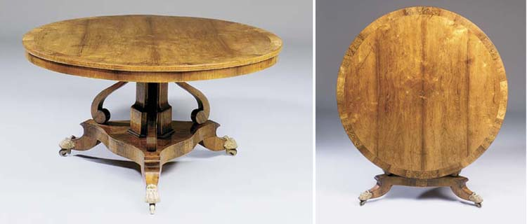 A REGENCY ROSEWOOD AND MARQUET