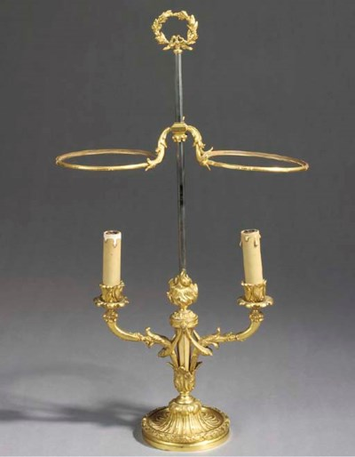 A French gilt-bronze two-light