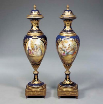 A large pair of French ormolu-