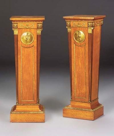 A pair of ormolu-mounted satin