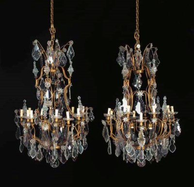 A pair of French brass, clear-