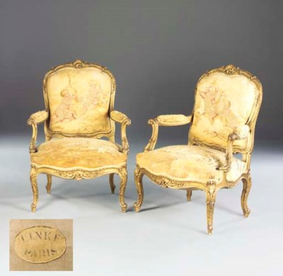 A pair of giltwood and Aubusso