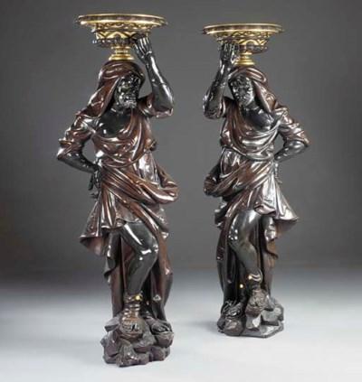A pair of Venetian parcel-gilt