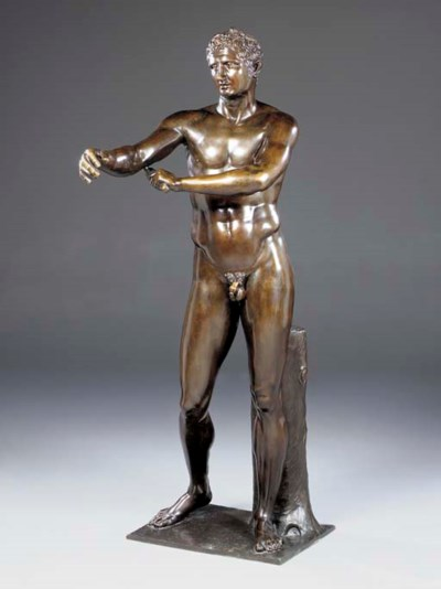 An Italian life-size patinated