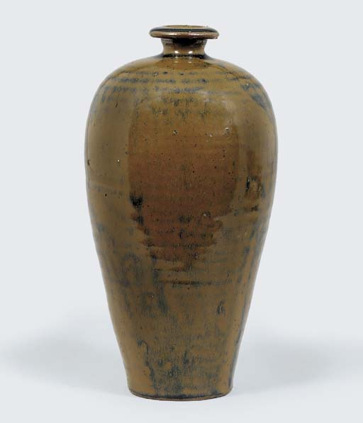A BROWN AND BLACK-GLAZED VASE,