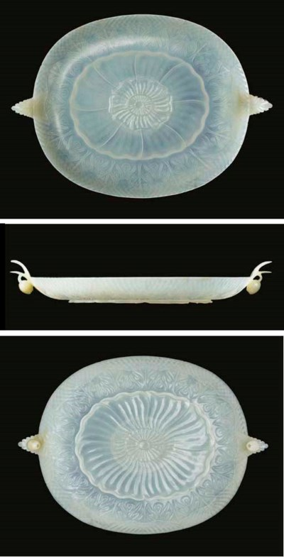 A MUGHAL-STYLE WHITE JADE SHAL