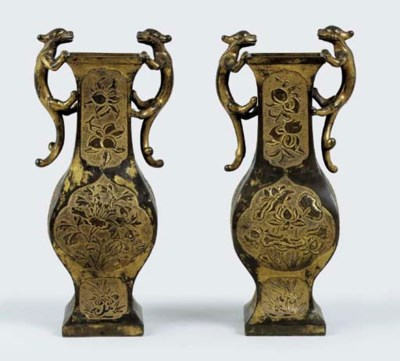 A PAIR OF UNUSUAL GILT-BRONZE