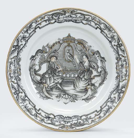 A RARE GRISAILLE AND GILT EUROPEAN-SUBJECT PLATE
