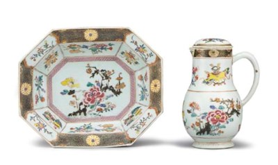 A FAMILLE ROSE EWER, COVER AND