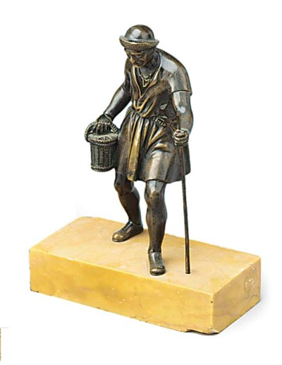 A BRONZE FIGURE OF A PEASANT H