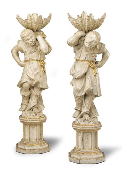 A PAIR OF PARCEL-GILT WHITE-PA