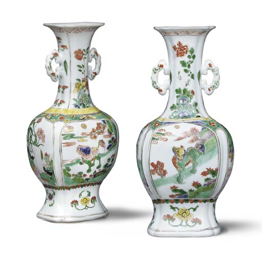 A MATCHED PAIR OF FAMILLE VERTE TWO-HANDLED BALUSTER VASES