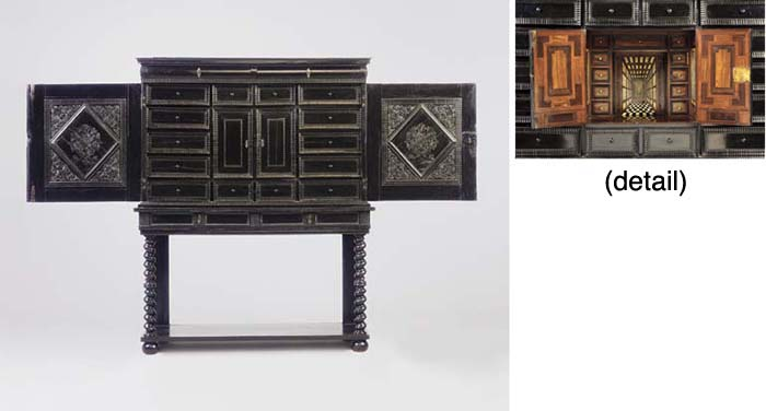 A LOUIS XIV EBONY CABINET-ON-STAND